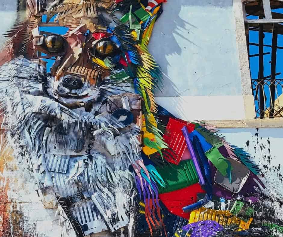 Fox Street Art by Bordallo II in Lisbon
