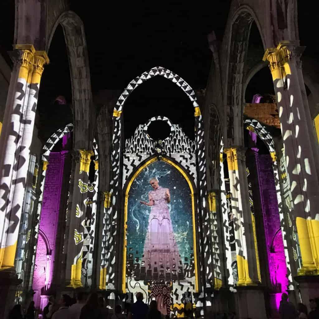 Lisbon under the stars lightshow, Lisbon Portugal