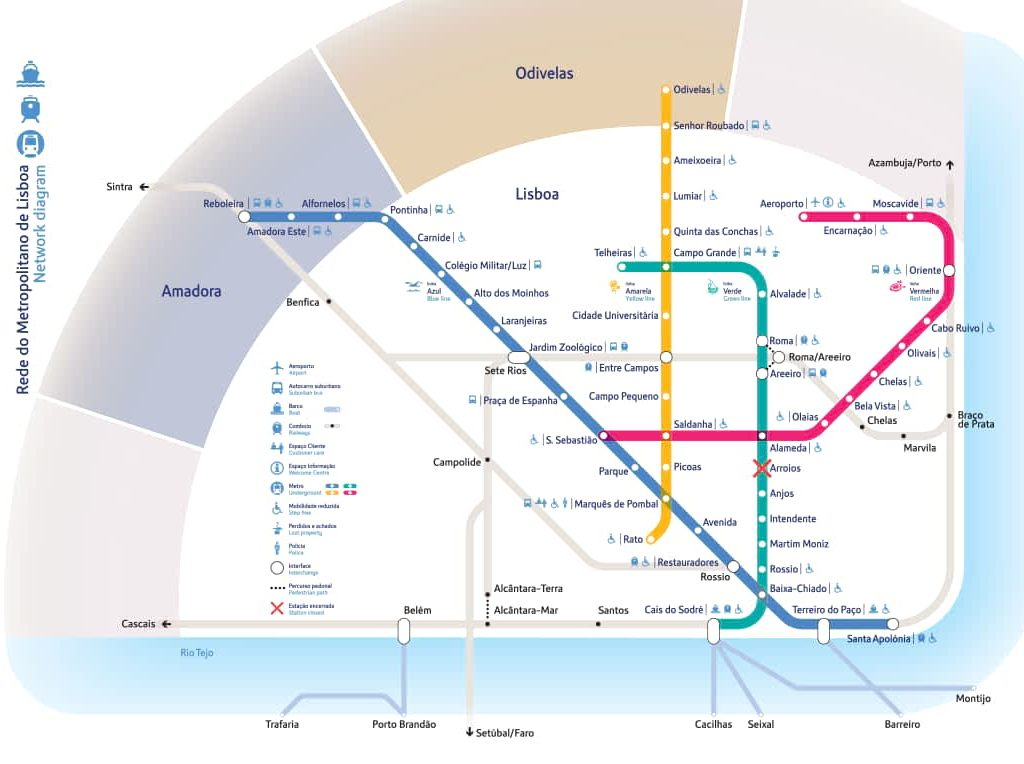 Lisbon Public Transport - Metro Map