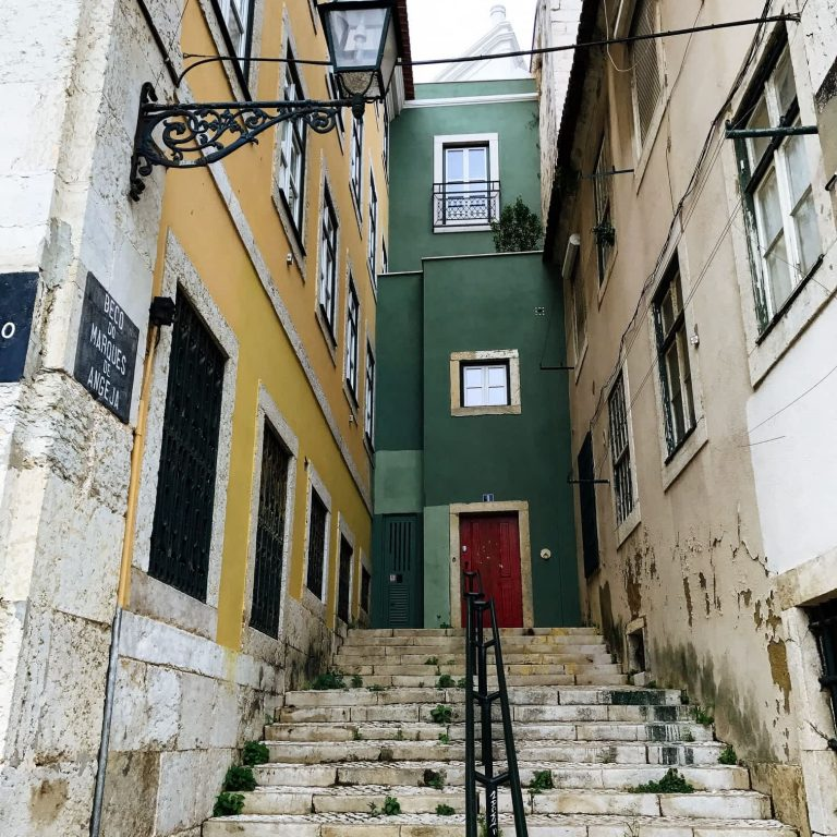 A staircase and houses in Alfama, Lisbon