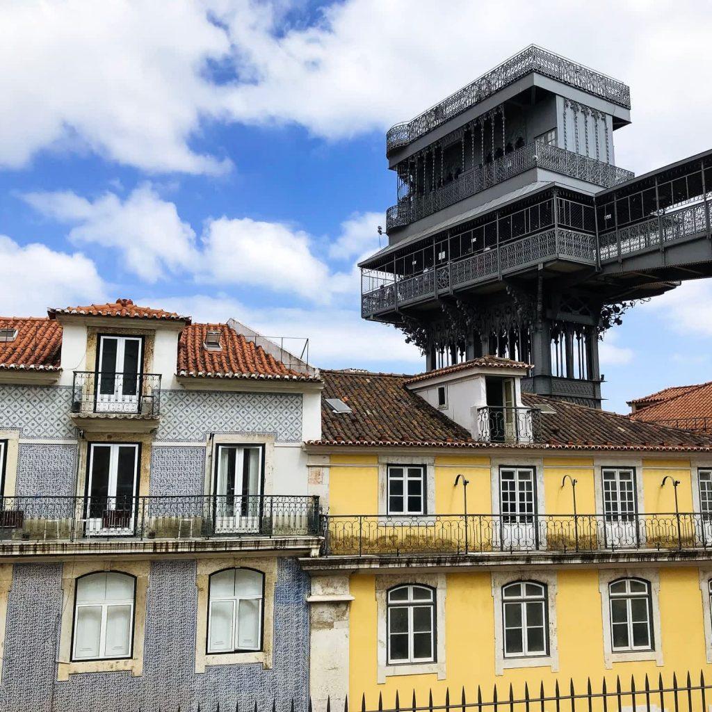 View of Santa Justa Lift to downtown Baixa