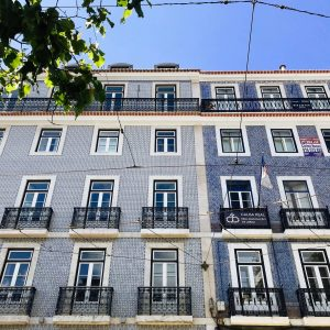 Blue tiled building in Chiado Lisbon