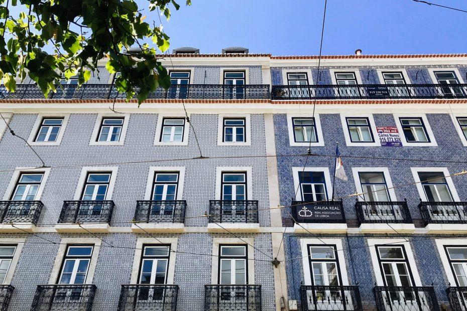 Blue tiled building in Chiado Lisbon