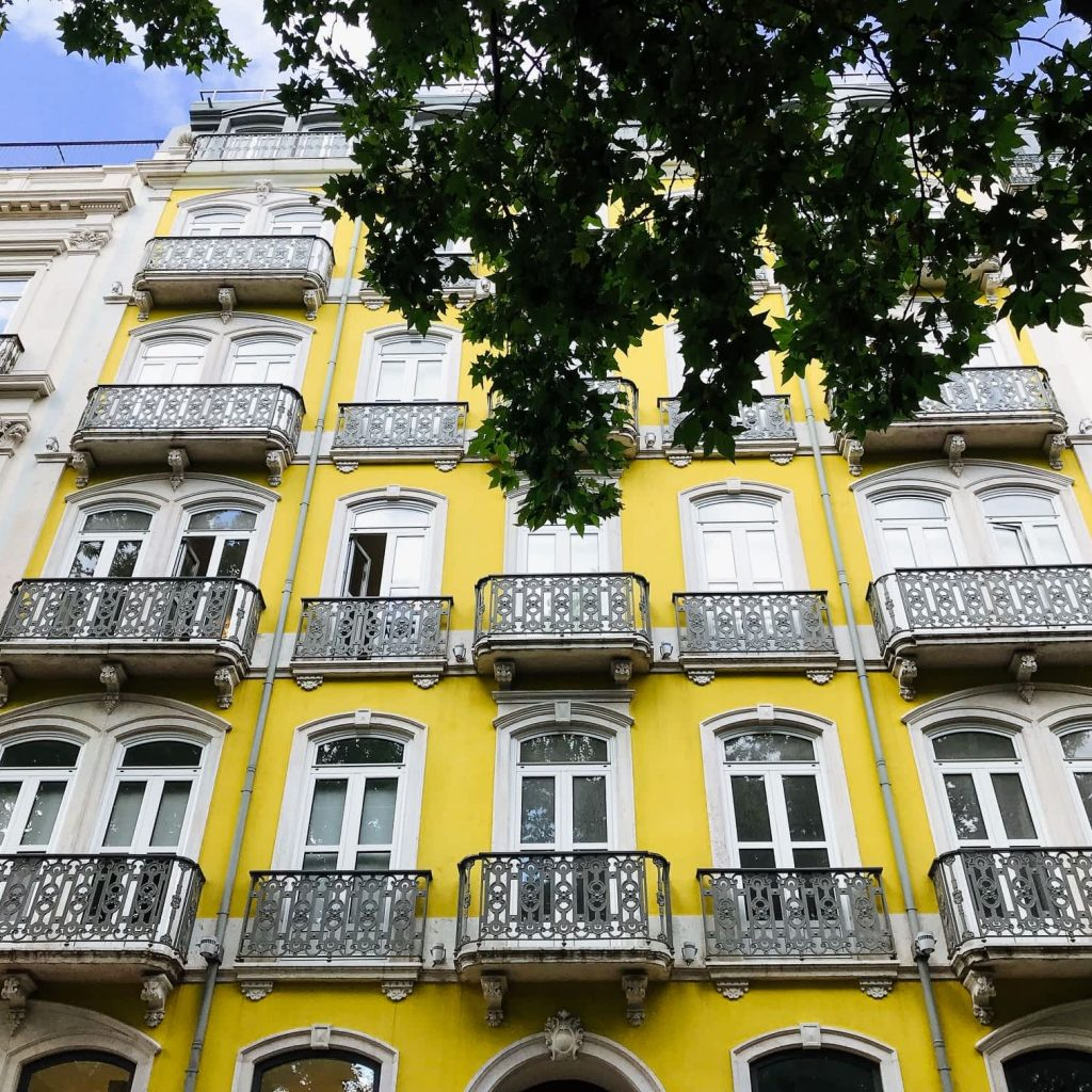 Yellow Building in Avenida Liberdade