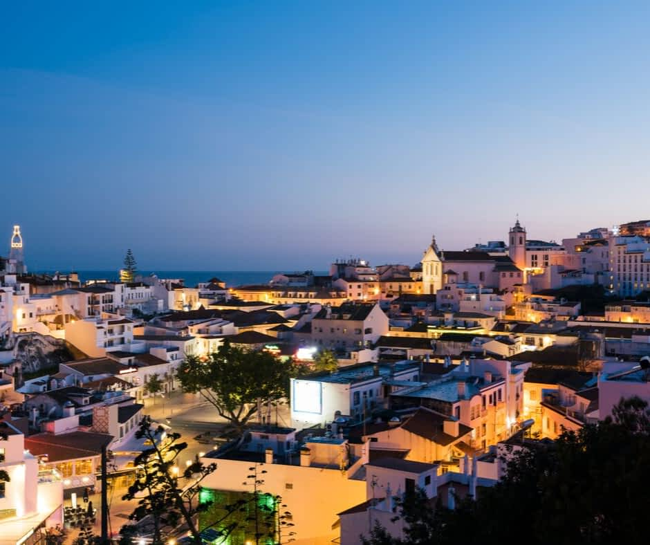 Albufeira Old Town at night