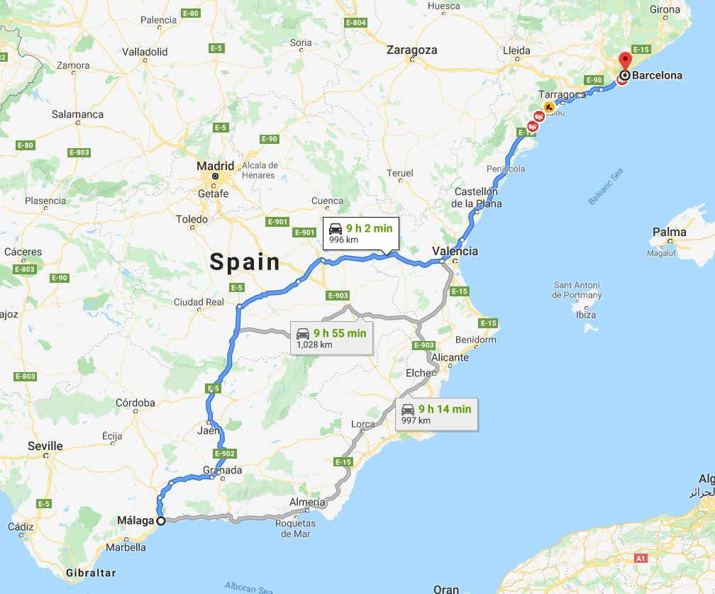 How to travel from Malaga to Barcelona by Car