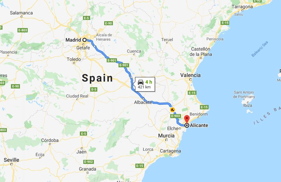 Madrid to Alicante by car