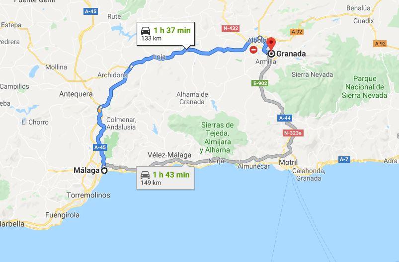 Malaga to Granada by car By © Google Maps