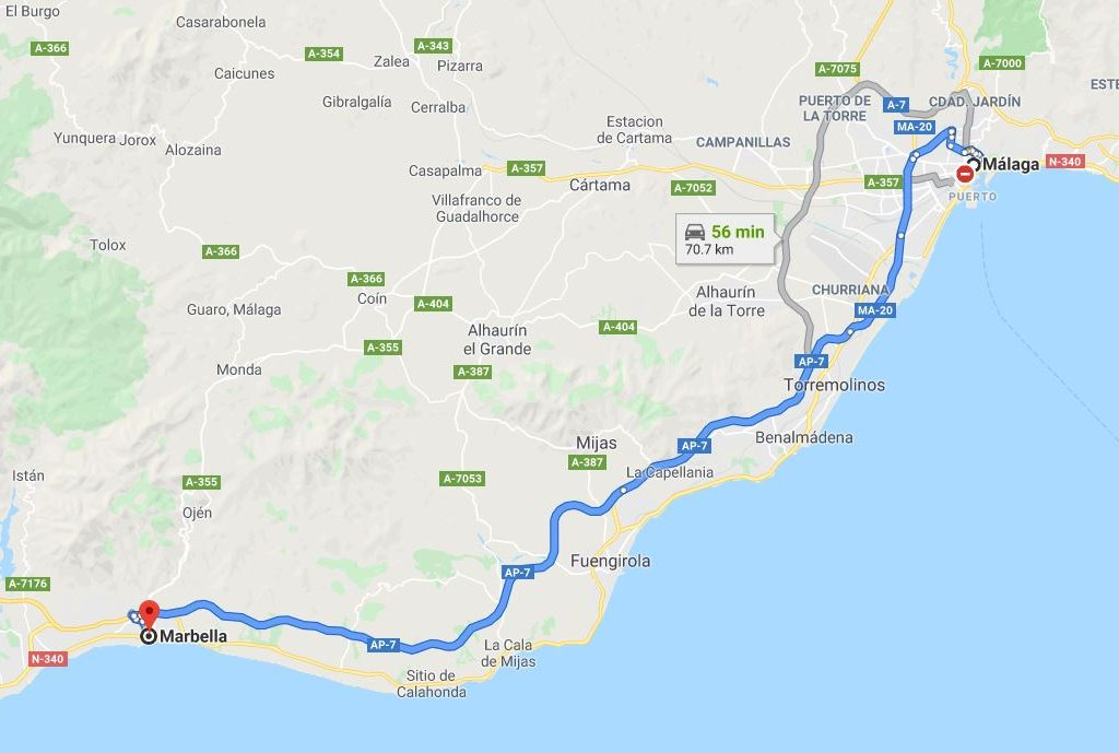 Malaga to Marbella by car by Google Maps