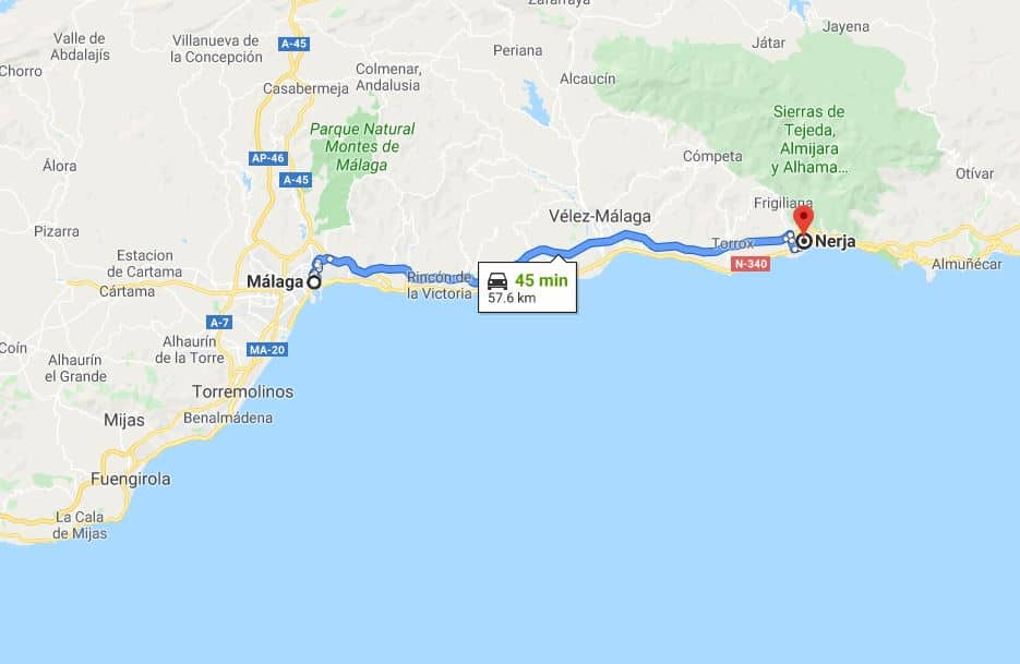 Nerja to Malga by car - map