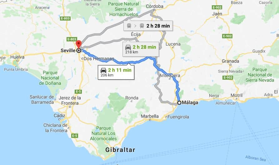Malaga to Seville by car