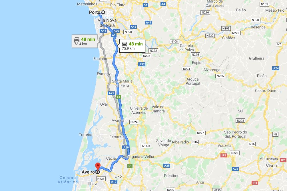Porto to Aveiro by Car Map