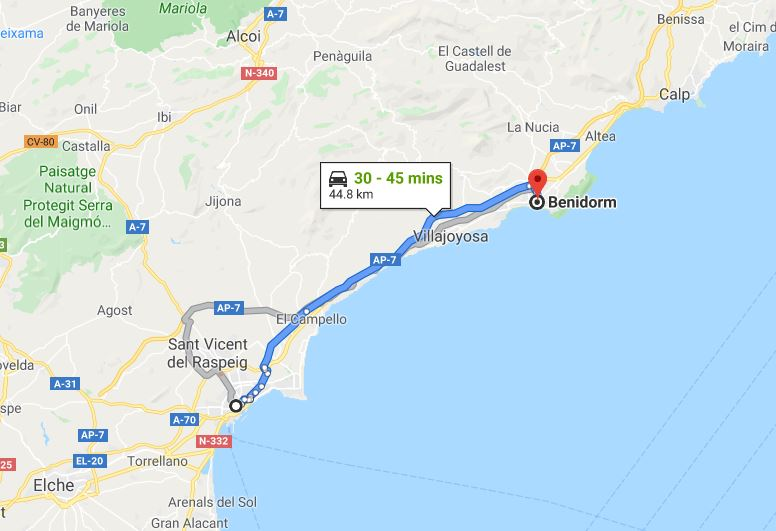 Alicante to Benidorm by car - © Google Maps