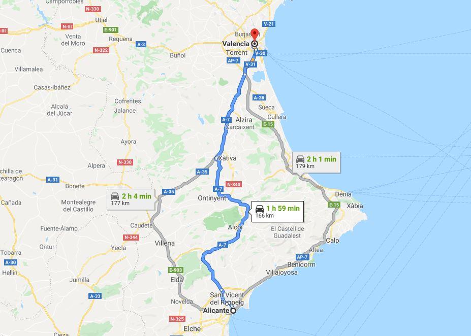 Alicante to Valencia by car © Google Maps
