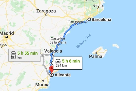 Barcelona to Alicante by car