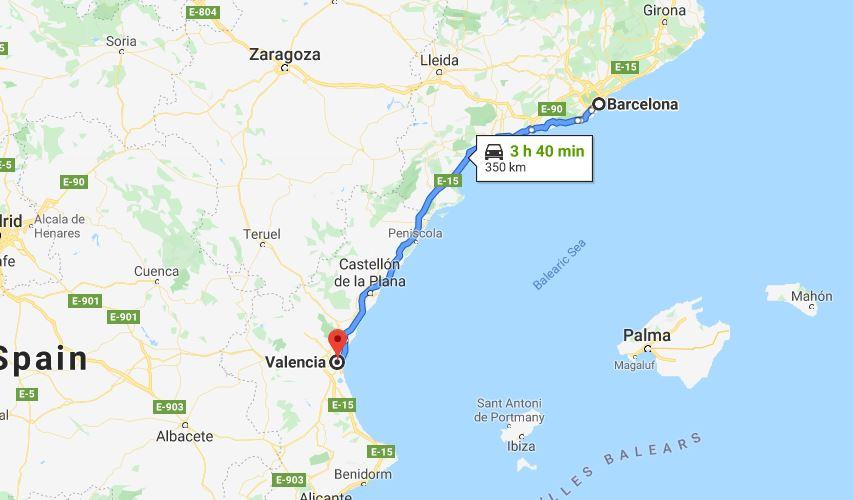 Barcelona to Valencia by car