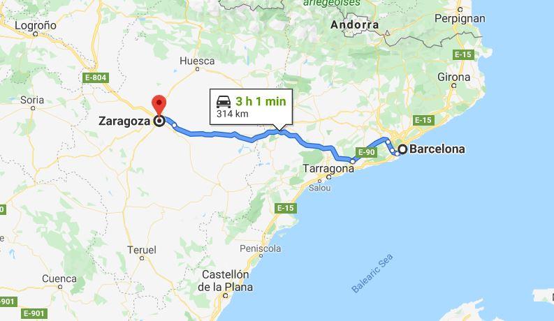 Barcelona to Zaragoza Spain © Google Maps