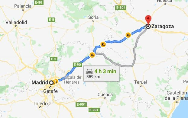 How to get from Madrid to Zaragoza by car