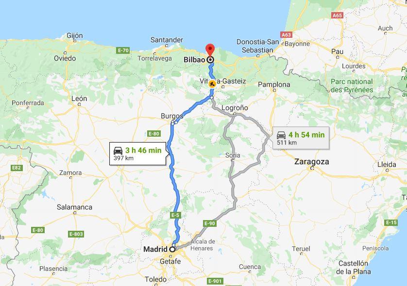 Madrid to Bilbao by car © Google Maps