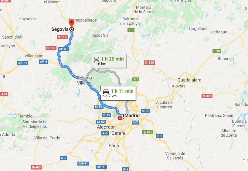 Madrid to Segovia by car