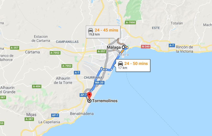 Drive from Malaga to Torremolinos © By Google Maps