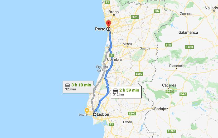 Lisbon to Porto by car