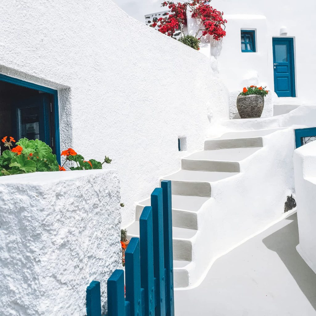 Santorini white washed buildings