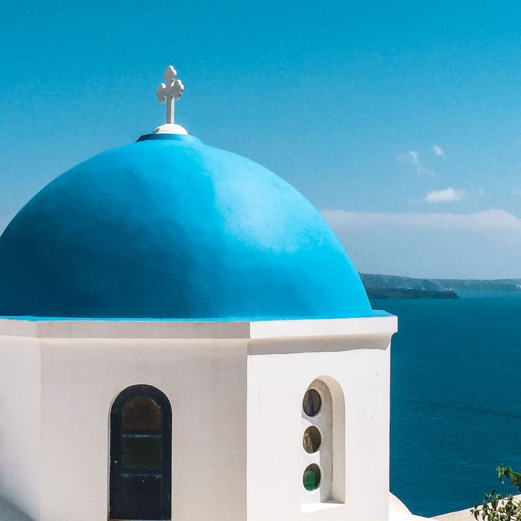 Santorini Blue Domed Churches
