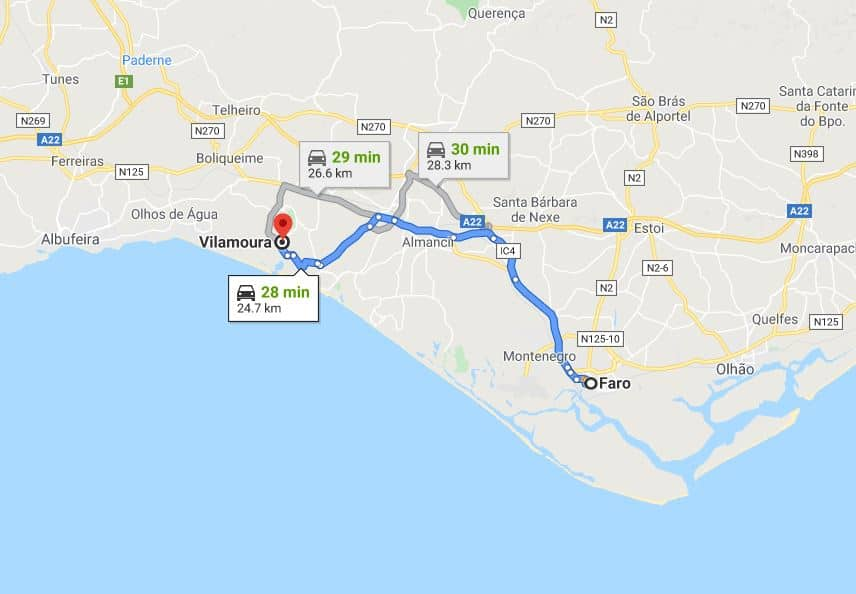 How to get from Faro to Vilamoura by car by Google Maps