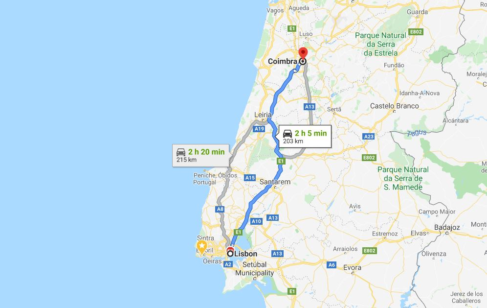 Lisbon to Coimbra by car by Google Maps