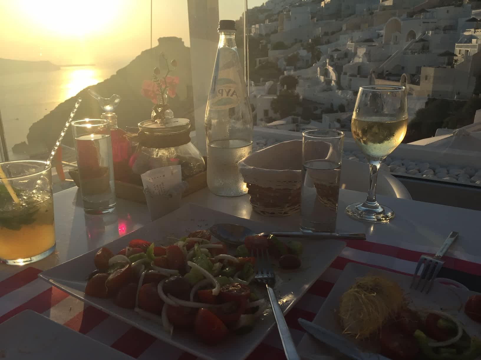 Reasons to visit Santorini good food and wine