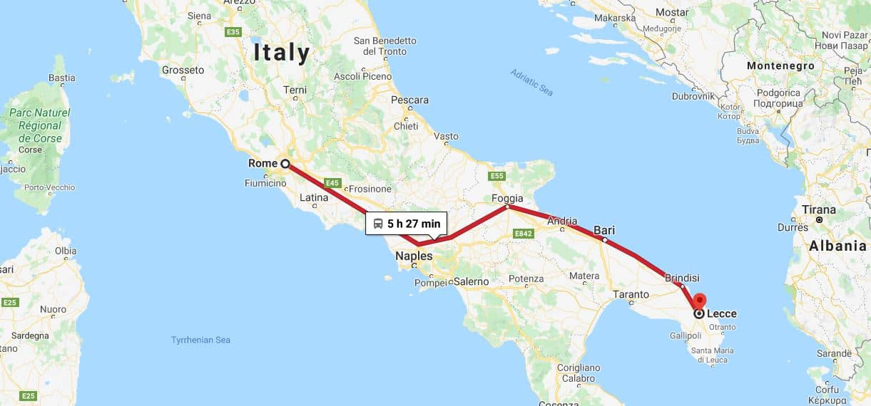 How to get to Lecce - Rome to Lecce