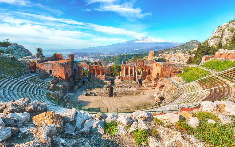 Ancient Greek Theatre in Taormina, Sicily
