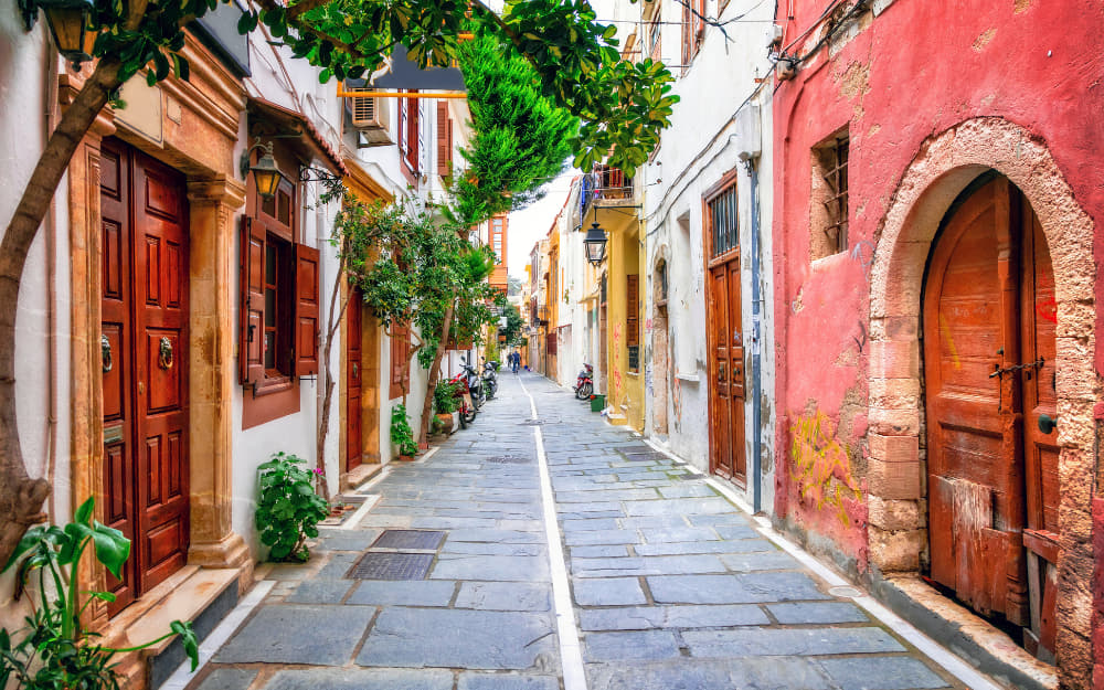 Colourful Streets of Old Town Rethymno in Crete