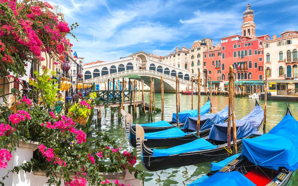 Gondolas at Rialto Bridge in Venice