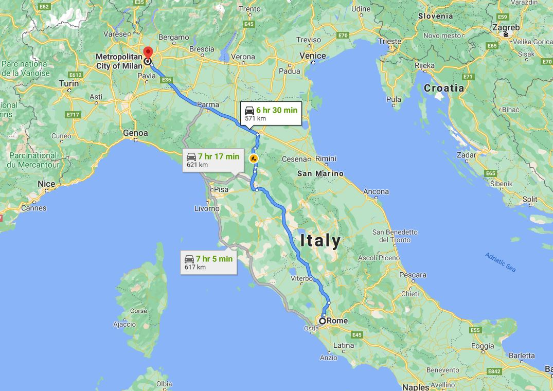 Milan to Rome by car