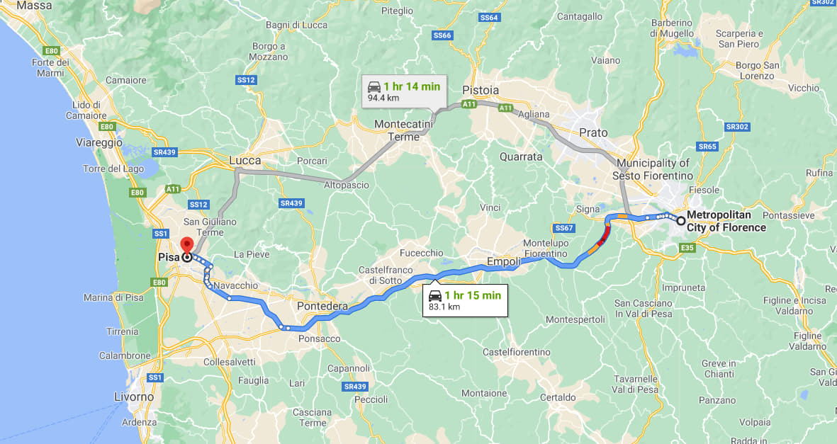 Pisa to Florence by car