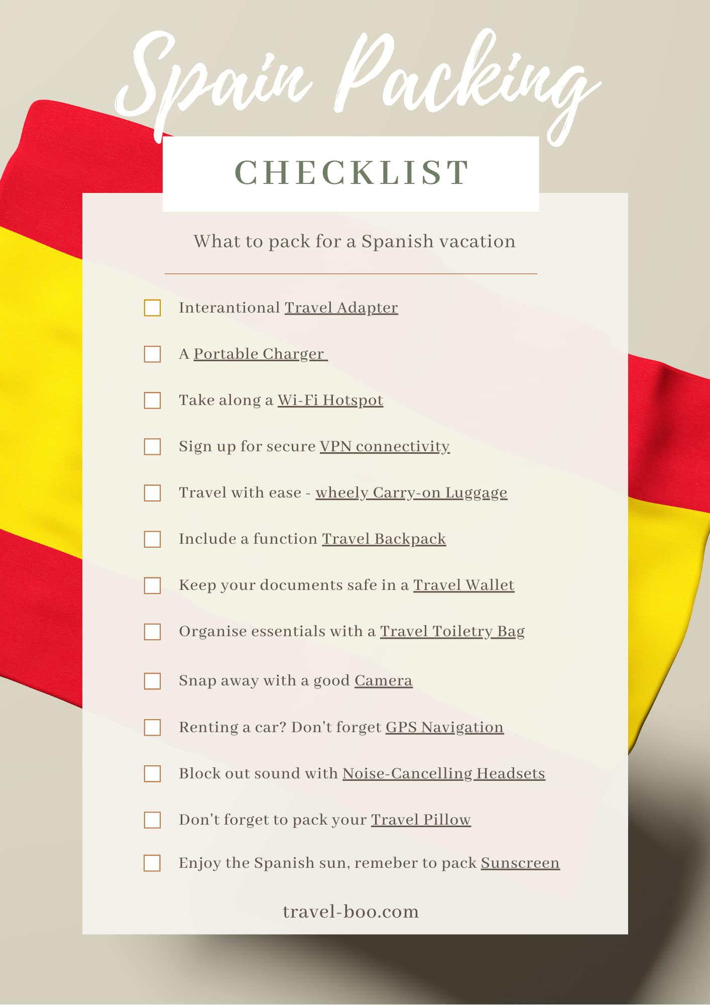 Spain Packing Checklist