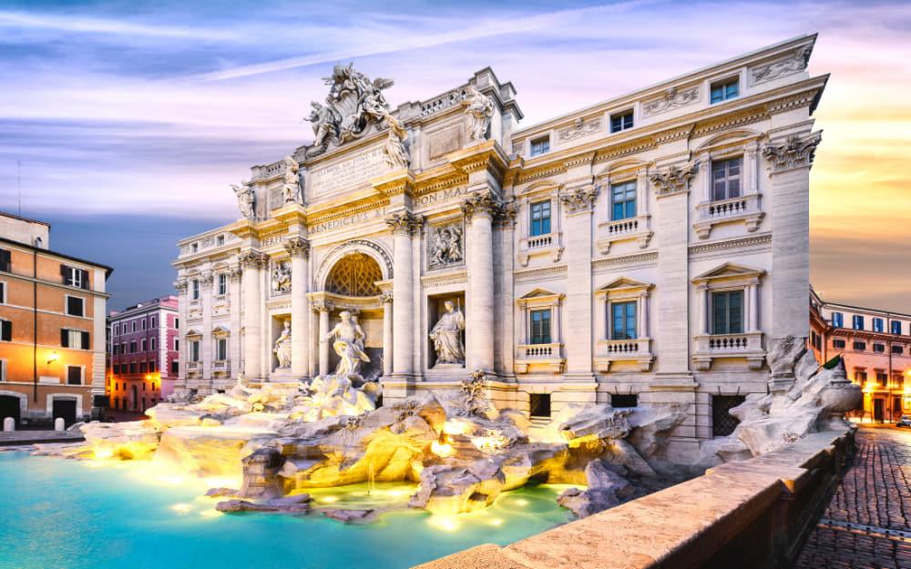 Trevi Fountain in Rome - Rome to Pisa train