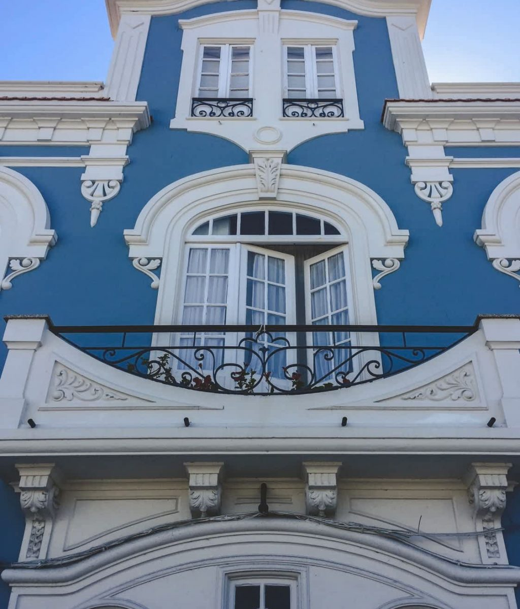 Blue and white building in Aveiro